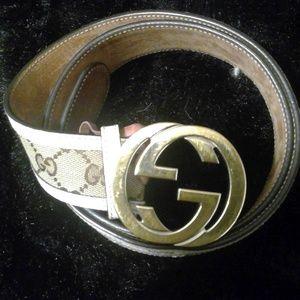 Gucci Interlocking Double G Canvas Belt-Size 90/36